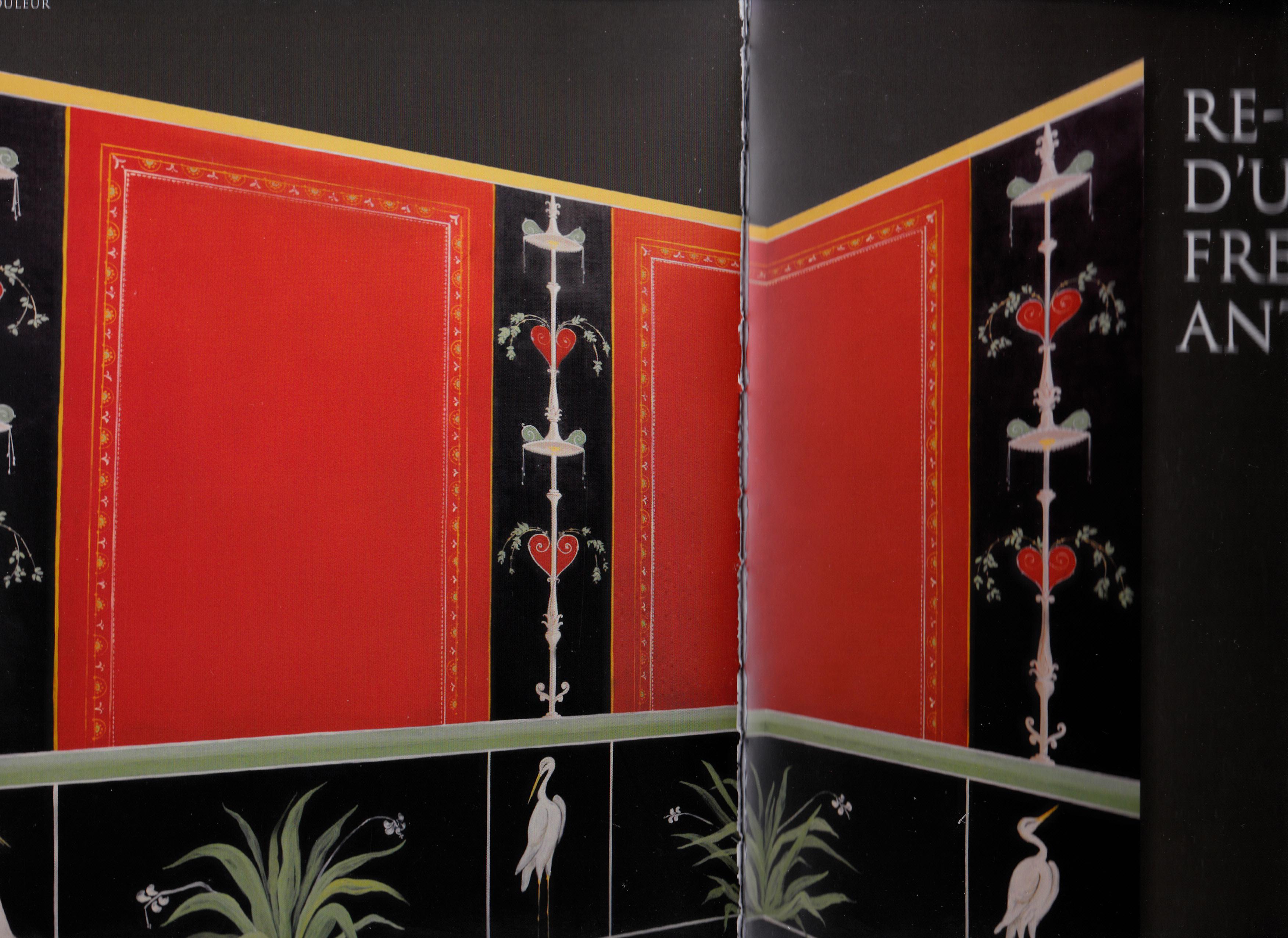 Re-création d'une fresque  à l'entrée de l'exposition L'empire de la couleur, de PompeÏ au Sud des Gaules