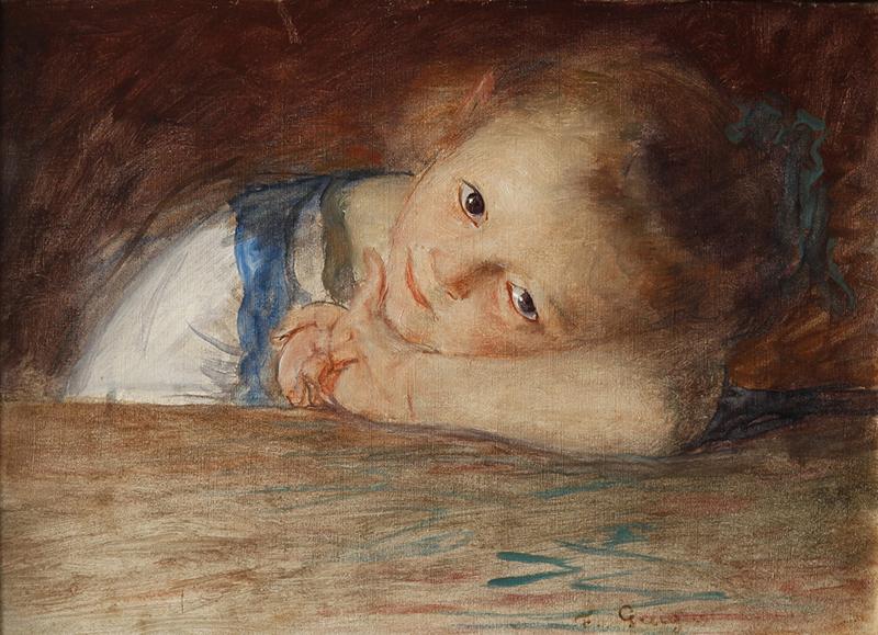 François-Joseph Guiguet, Petite fille appuyée sur son bras,