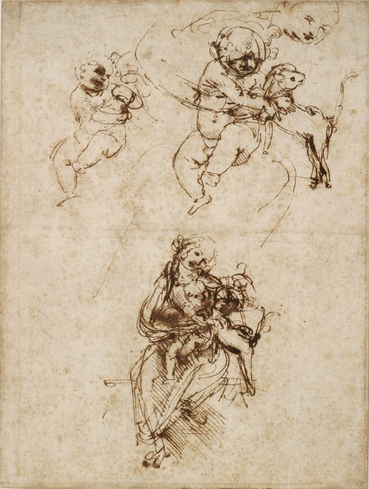 Léonard de Vinci, Étude pour une Vierge à l'Enfant jouant avec un chat,