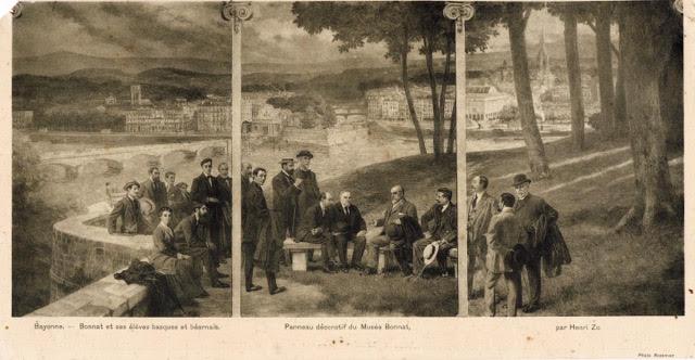 Version carte postale triptyque H. Zo Léon Bonnat et ses élèves basques et béarnais