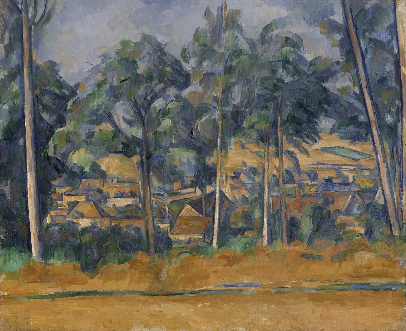 Paul Cezanne Village derrière les arbres (Marines), vers 1898