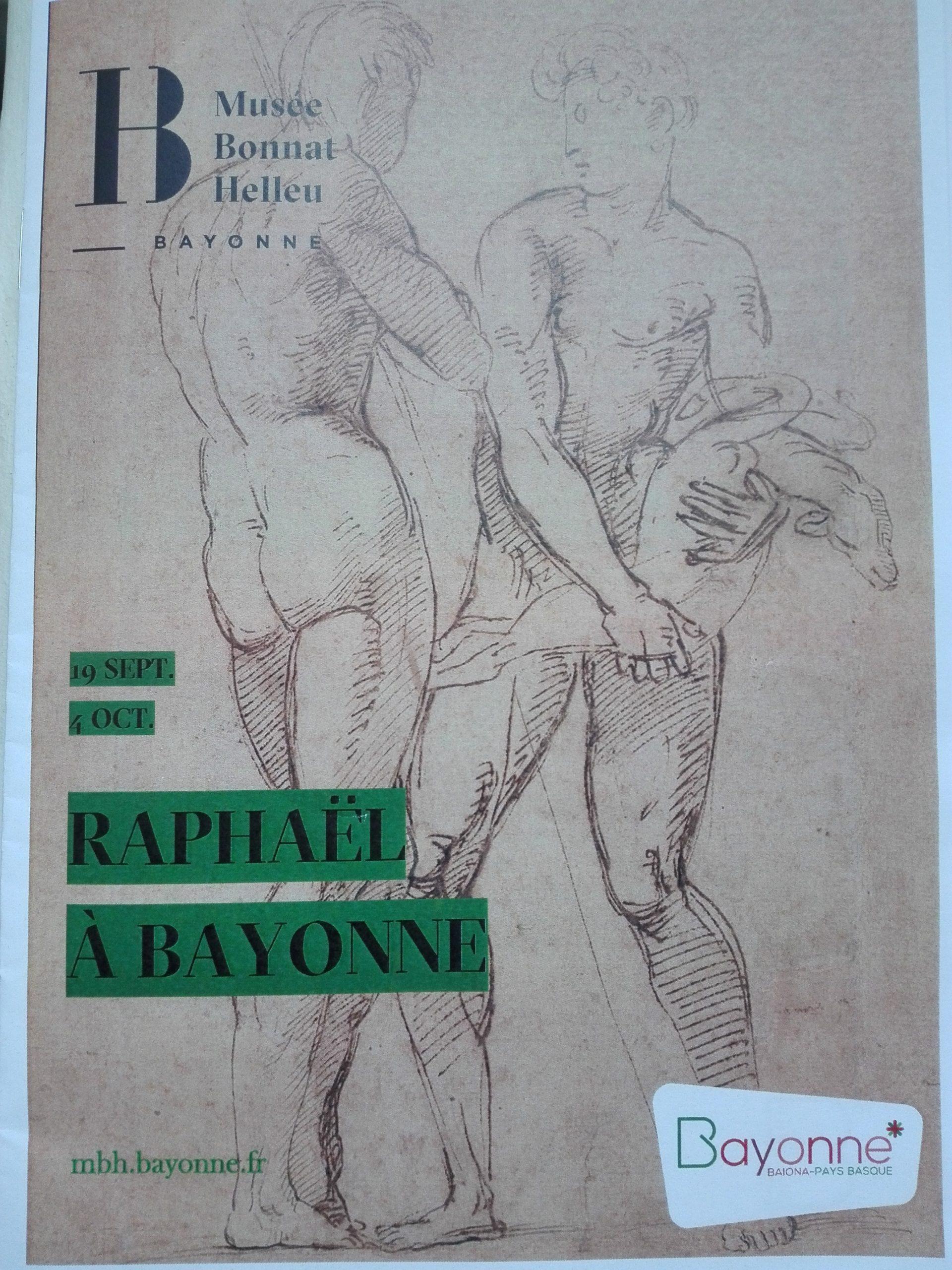Affiche de l'exposition Raphaël, Deux hommes nus debout, celui de droite portant un agneau dans ses bras